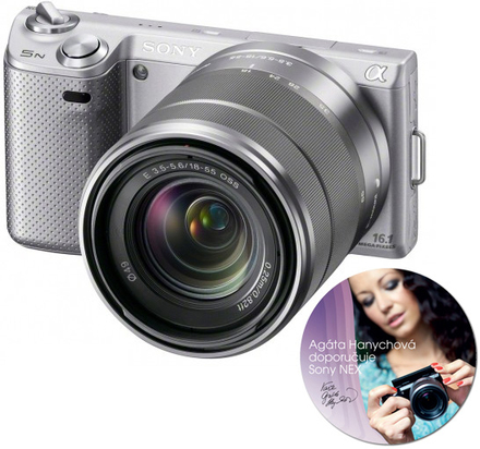 Sony NEX-5N stříbrný + 18-55 mm + SEL 50 mm !