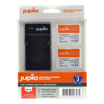 Jupio Kit 2x NB-6LH + USB Single Charger pro Canon