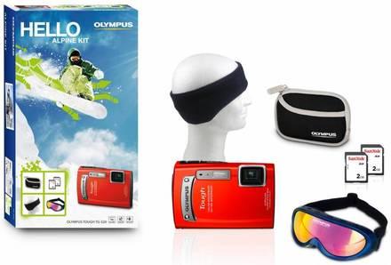 Olympus TG-320 červený + 2x 2GB karta + pouzdro + čelenka + brýle zdrama!