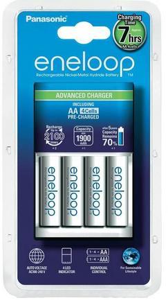 Panasonic Advance Charger + 4x Eneloop AA baterie 1900 mAh