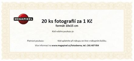 Slevový poukaz na Fotografie 10x15cm - 20 ks za 1 Kč