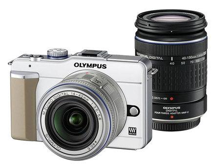 Olympus E-PL1 bílý + 14-42 mm + 40-150 mm + MMF-2