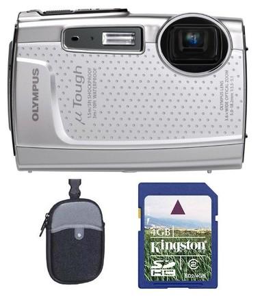 Olympus Mju TOUGH-3005 stříbrný + 4GB karta + neoprenove pouzdro zdarma!