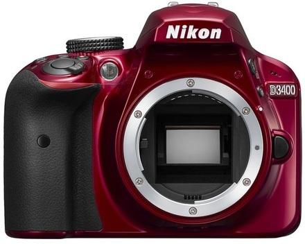Nikon D3400 + 18-55 mm AF-P VR červený + 32GB karta + brašna + filtr UV 55mm + poutko na ruku!