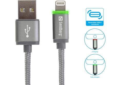Sandberg kabel propojovací USB-A na Lightning 1m LED
