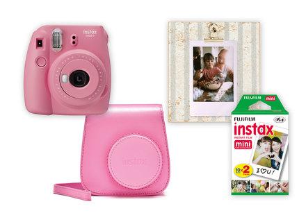 Fujifilm Instax mini 9 poppy red + pouzdro + 2x10 film + rámeček
