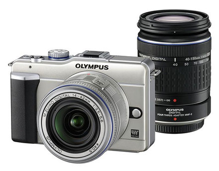 Olympus E-PL1 zlatý + 14-42 mm + 40-150 mm + MMF-2