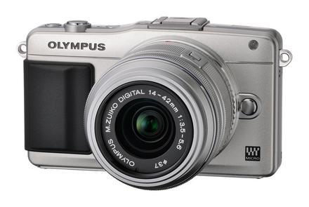Olympus PEN E-PM2 + 14-42 mm II R stříbrný + 8GB karta + brašna TLZ 10 + poutko na ruku!