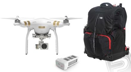 DJI kvadrokoptéra Phantom 3 Professional + náhradní akumulátor + batoh!
