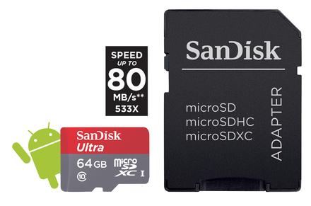 SanDisk Micro SDXC 64GB ULTRA 80 MB/s Class 10 UHS-I + Adaptér