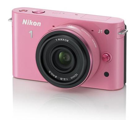 Nikon 1 J1 růžový + 10-30 mm + 10 mm