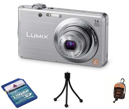 Panasonic Lumix DMC-FS16 stříbrný + SD 2GB karta + pouzdro  DF11 + ministativ!