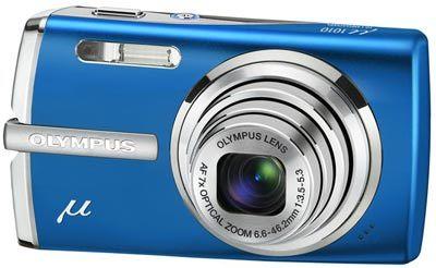 Olympus Mju 1010 modrý + baterie + pouzdro + poutko + sada skinů v ceně 450 Kč zdarma!