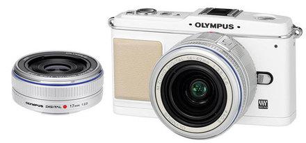 Olympus E-P1 bílý + 14-42 mm + 17 mm Pancake