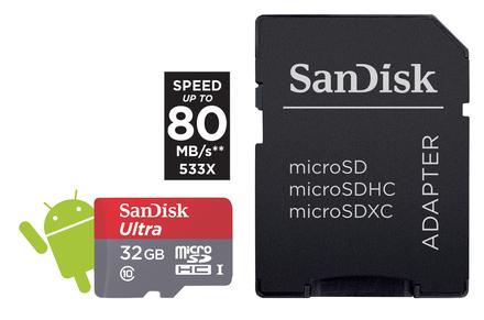 SanDisk Micro SDHC 32GB ULTRA 80 MB/s Class 10 UHS-I + Adaptér