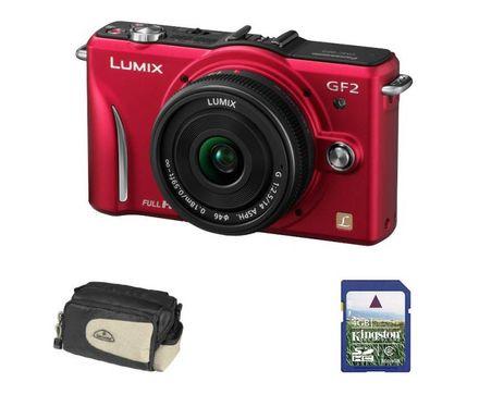 Panasonic Lumix DMC-GF2 červený + 14 mm