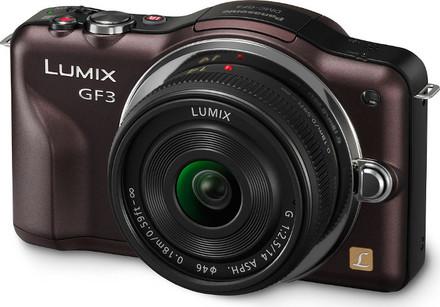 Panasonic Lumix DMC-GF3 hnědý + 14 mm