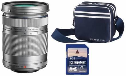 Olympus M.ZUIKO ED 40-150 mm stříbrný + 8GB karta + brašna Street Case L