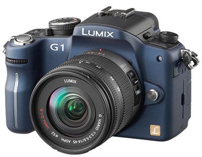 Panasonic Lumix DMC-G1 modrý + G Vario 14-45 mm + 45-200 mm