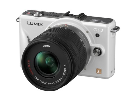 Panasonic Lumix DMC-GF2 bílý + 14-42 mm + 14 mm