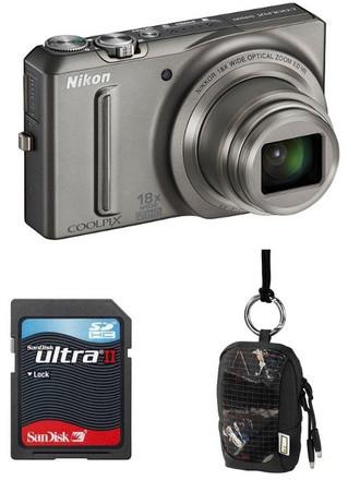 Nikon Coolpix S9100 stříbrný + 8GB Ultra karta + pouzdro Aha 70J!