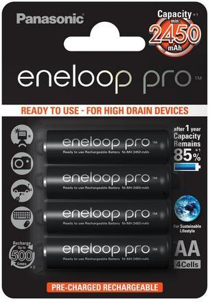 Panasonic Eneloop PRO AA baterie 2450 mAh 4 ks