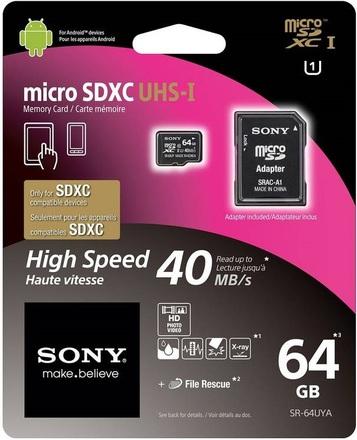 Sony Micro SDXC 64GB SDHC UHS-I + Adaptér