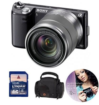 Sony NEX-5 černý + 18-55 mm + 16GB karta + pouzdro DFV42 zdarma!