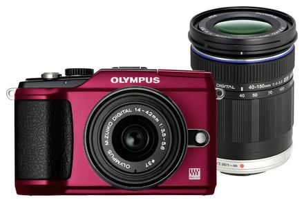 Olympus E-PL2 červený + 14-42 mm II + 40-150 mm