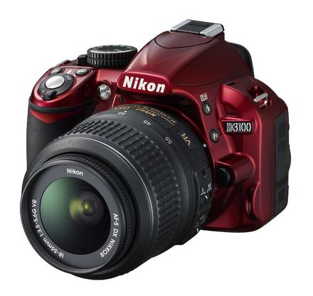 Nikon D3100 červený + 18-55 mm