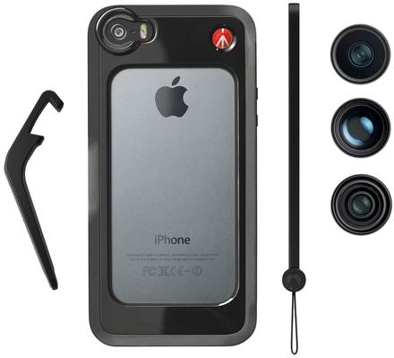 Manfrotto MKOKLYP5S BUMPER + 3ks objektivů pro iPhone 5/5s černé